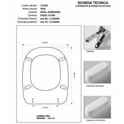 Copriwater Ideal Standard TESI GRIGIO SUSSURRATO Cerniera Cromo-Sedile-Asse Wc