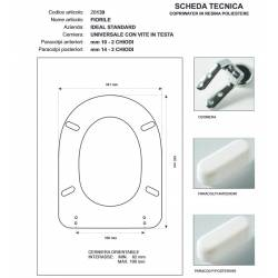 Copriwater Ideal Standard FIORILE BIANCO I.S. Cerniera Cromo-Sedile-Asse Wc