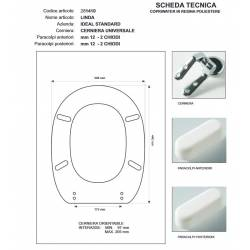Copriwater Ideal Standard LINDA GRIGIO SUSSURRATO Cerniera Cromo-Sedile-Asse Wc