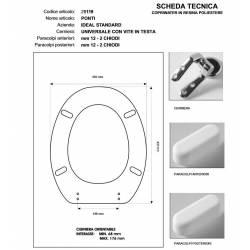 Copriwater Ideal Standard  PONTI AZZURRO SUSSURRATO  Cerniera Cromo-Sedile-Asse Wc
