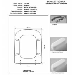 Copriwater Ideal Standard  CONCA ROSSO BERTOCCI  Cerniera Cromo-Sedile-Asse Wc