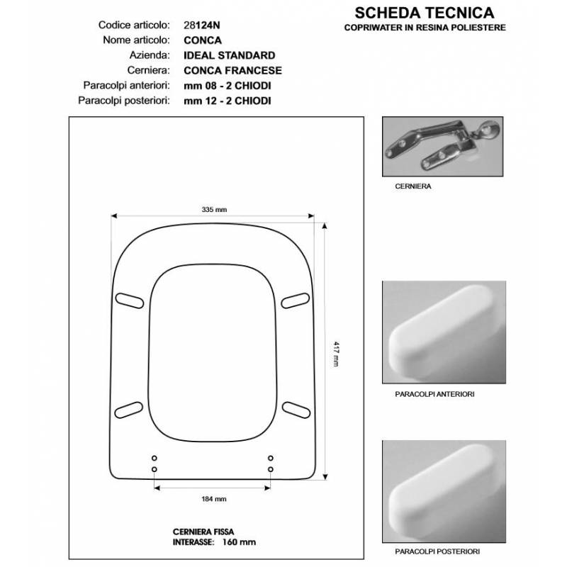 Copriwater ideal standard conca rosso bertocci for Ideal standard conca prezzo