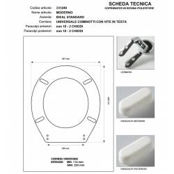 Copriwater Ideal Standard  MODERNO BIANCO  Cerniera Cromo-Sedile-Asse Wc