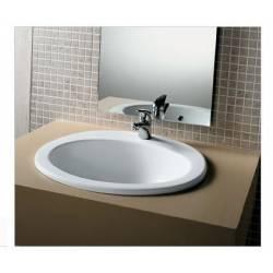 Lavabo incasso Mod. OVALINE Monoforo in Ceramica Dimensioni 600x520 Hatria