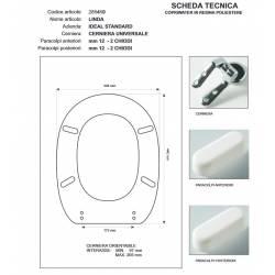 Copriwater Ideal Standard LINDA AZZURRO SUSSURRATO Cerniera Cromo-Sedile-Asse Wc