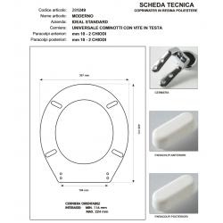 Copriwater Ideal Standard  MODERNO FONDALE  Cerniera Cromo-Sedile-Asse Wc