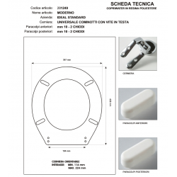 Copriwater Ideal Standard  MODERNO BIANCO I.S.  Cerniera Cromo-Sedile-Asse Wc