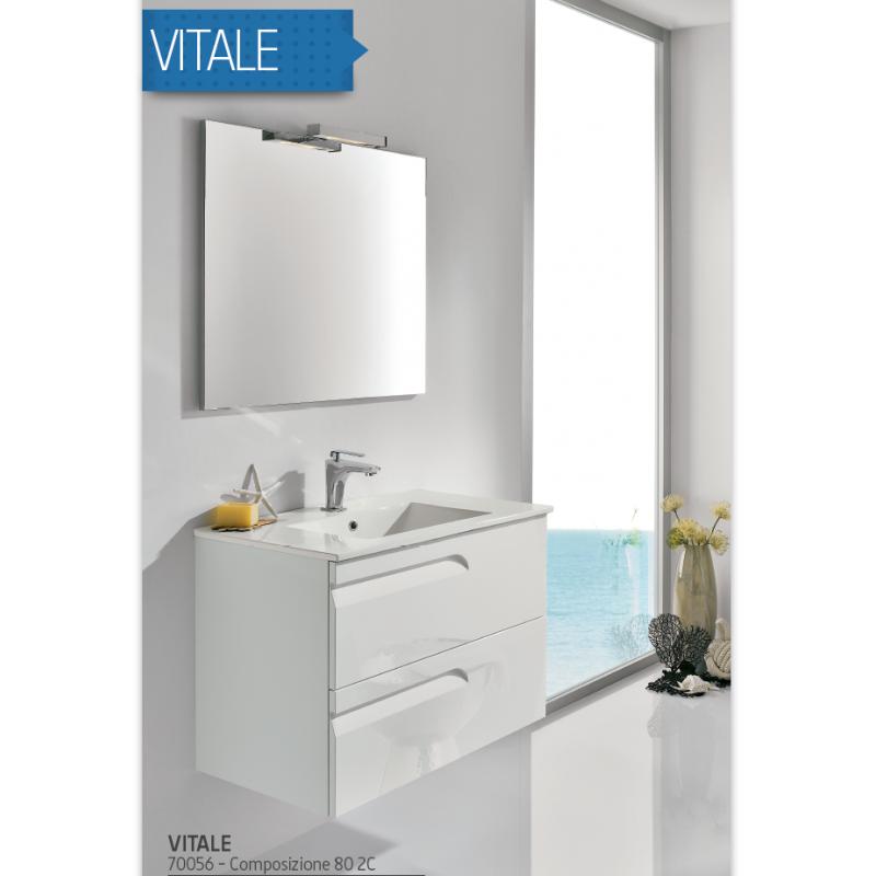 mobile bagno vitale bianco sospeso 80cm con lavabo in ceramica specchio e lampada