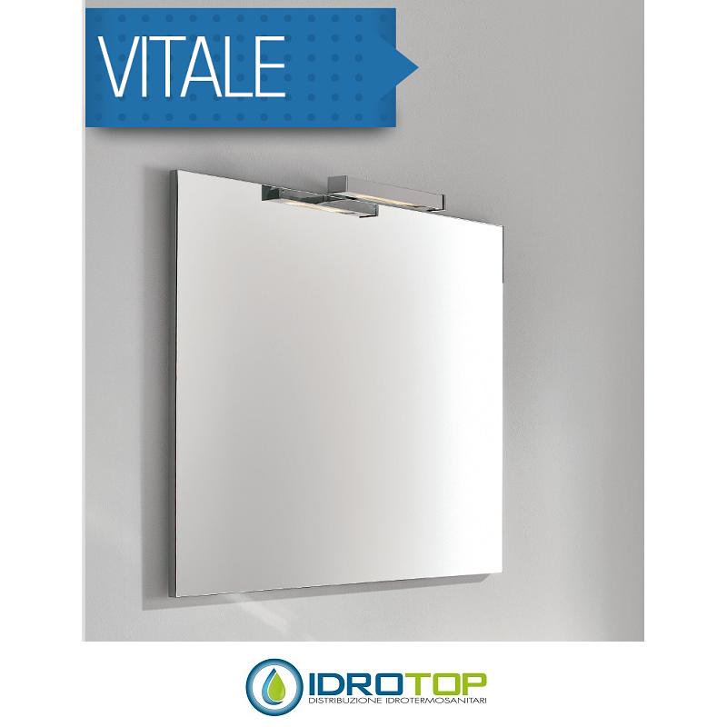 Mobile bagno vitale bianco sospeso 80cm con lavabo in - Mobili bagno con specchio ...