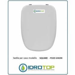 Copriwater Pozzi Ginori SQUARE BIANCO Cerniera Oro-Sedile-Asse Wc