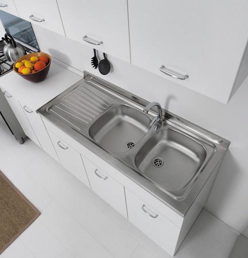 Sottolavello mobile per cucina lavello in inox 100x50 - Mobile sottolavello cucina ...