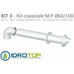 Kit Coassiale per Argo-Baxi-Roca-Viessmann Esterno D.100:ALLUMINIO/ACCIAIO Interno D.60:POLIPROPILENE