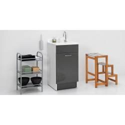 Lavatoio JOLLYWASH 45X60,cesto portabiancheria,asse in legno,sifone, Colavene