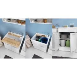 Lavatoio  LINDO 75X50, lavapanni con mobile con cesto portabiancheria
