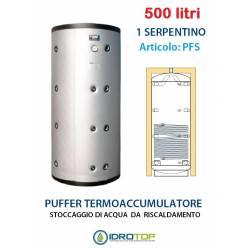 Puffer 500 lt Serbatoio con 1 Serpentino - Accumulo per Acqua Riscaldamento