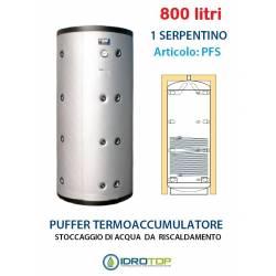 Puffer 800 lt Serbatoio con 1 Serpentino - Accumulo per Acqua Riscaldamento