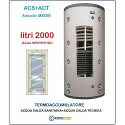 Termoaccumulatore 2000 lt Bollitore Combinato ACS+ACT senza Serpentino-Serbatoio