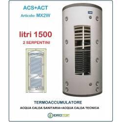 Termoaccumulatore 1500 lt Bollitore Combinato ACS+ACT 2 Serpentini-Serbatoio Acqua