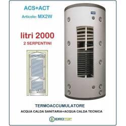 Termoaccumulatore 2000 lt Bollitore Combinato ACS+ACT 2 Serpentini-Serbatoio