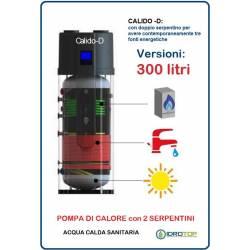 Pompa di Calore 300 LT.per Acqua Calda Sanitaria-Serbatoio con 2 Serpentini CALIDO D