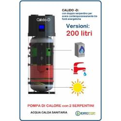Pompa di Calore 200 LT.per Acqua Calda Sanitaria-Serbatoio con 2 Serpentini CALIDO D