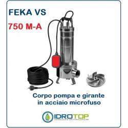 Pompa Sommergibile FEKA VS 750 M-A con Galleggiante cavo e Spina.Per acque Nere