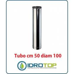 Tubo Cm 50 Diam.100 Monoparete in Acciaio Inox per Caminetti e Stufe