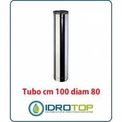 Tubo Cm 100 Diam.80 Monoparete  in Acciaio Inox per Caminetti e Stufe