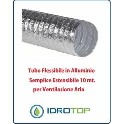 Tubo Flessibile in Alluminio Semplice Estensibile 10 mt. per Ventilazione Aria