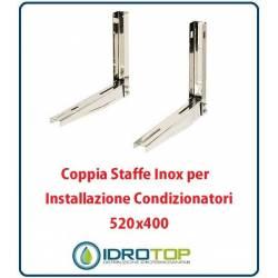 Coppia Staffe Inox 520x400 mm per installazione condizionatori. Sistema di fissaggio Unità esterna