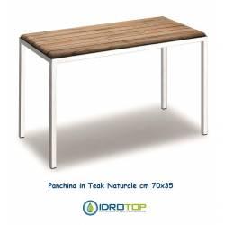 Panchina 70 cm in Legno Teak Naturale finitura Acciaio Inox Lucido Ibb NA33