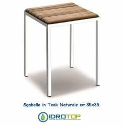 Sgabello quadrato 35 cm in Legno Teak Naturale finitura Acciaio Inox Lucido Ibb NA92
