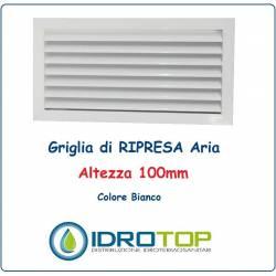Griglie Altezza 100mm di Ripresa Aria BIANCA con Alette Oblique fisse