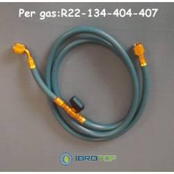 Tubo Flessibile Blu con Rubinetto Intermedio Gas R22-134-404-407