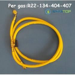 Frusta Flessibile colore Giallo con Valvola Intermedia Gas R22-134-404-407