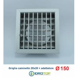 Bocchetta Aria 20x20 cm Griglia regolabile ALLUMINIO con Adattatore D.150
