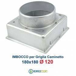 Imbocco per Griglia 18x18 diametro 120mm Raccordo Adattatore per Bocchetta Caminetto