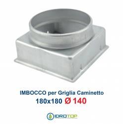 Imbocco per Griglia 18x18 diametro 140mm Raccordo Adattatore per Bocchetta Caminetto