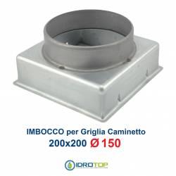 Imbocco per Griglia 20x20 diametro 150mm Raccordo Adattatore per Bocchetta Caminetto
