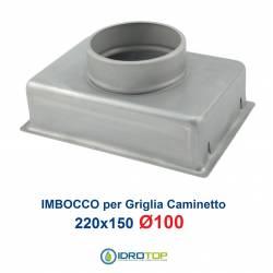 Imbocco per Griglia 22x15 diametro 100mm Raccordo Adattatore per Bocchetta Caminetto
