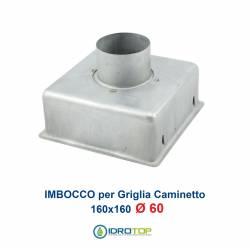 Imbocco per Griglia 16x16 diametro 60mm Raccordo Adattatore per Bocchetta Caminetto