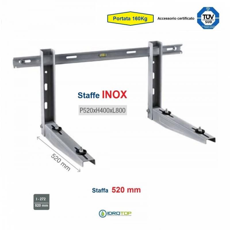 Staffa Regolabile INOX cm 52 per Climatizzatore portata 160 Kg.Certificata TUV