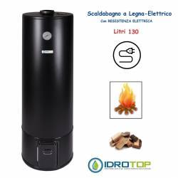 Scaldabagno a Legna Elettrico LT 130 Nero Scaldacqua Coibentato in Lana Vetro