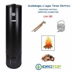 Scaldabagno a Legna Termo Elettrico LT 80 Nero Scaldacqua Coibentato in Lana Vetro