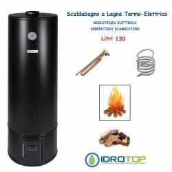 Scaldabagno a Legna Termo Elettrico LT 130 Nero Scaldacqua Coibentato in Lana Vetro
