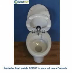 Tapis WC bidet 520 avec pot WC en céramique sur le sol - compatibilité parfaite