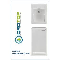 Lavatoio L45xP60 Mod.ACQUAIO completo di ASSE LEGNO-SIFONE-PILETTA