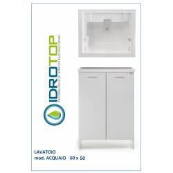 Lavatoio L60xP50 Mod.ACQUAIO completo di ASSE LEGNO-SIFONE-PILETTA