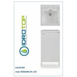 Lavatoio L45x50 Mod. ROSSANA completo di ASSE LEGNO-CESTO-SIFONE-PILETTA