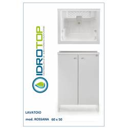 Lavatoio L65x50 Mod. ROSSANA completo di ASSE LEGNO-CESTO-SIFONE-PILETTA